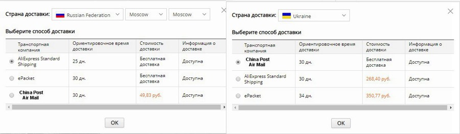 В чем разница между Seller's Shipping и Aliexpress Standard Shipping